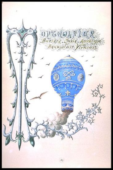 Montgolfière issue du livre enluminé de Mariano Goybet