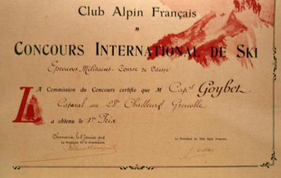 Adrien goybet champion international ski militaire Chamonix 1908