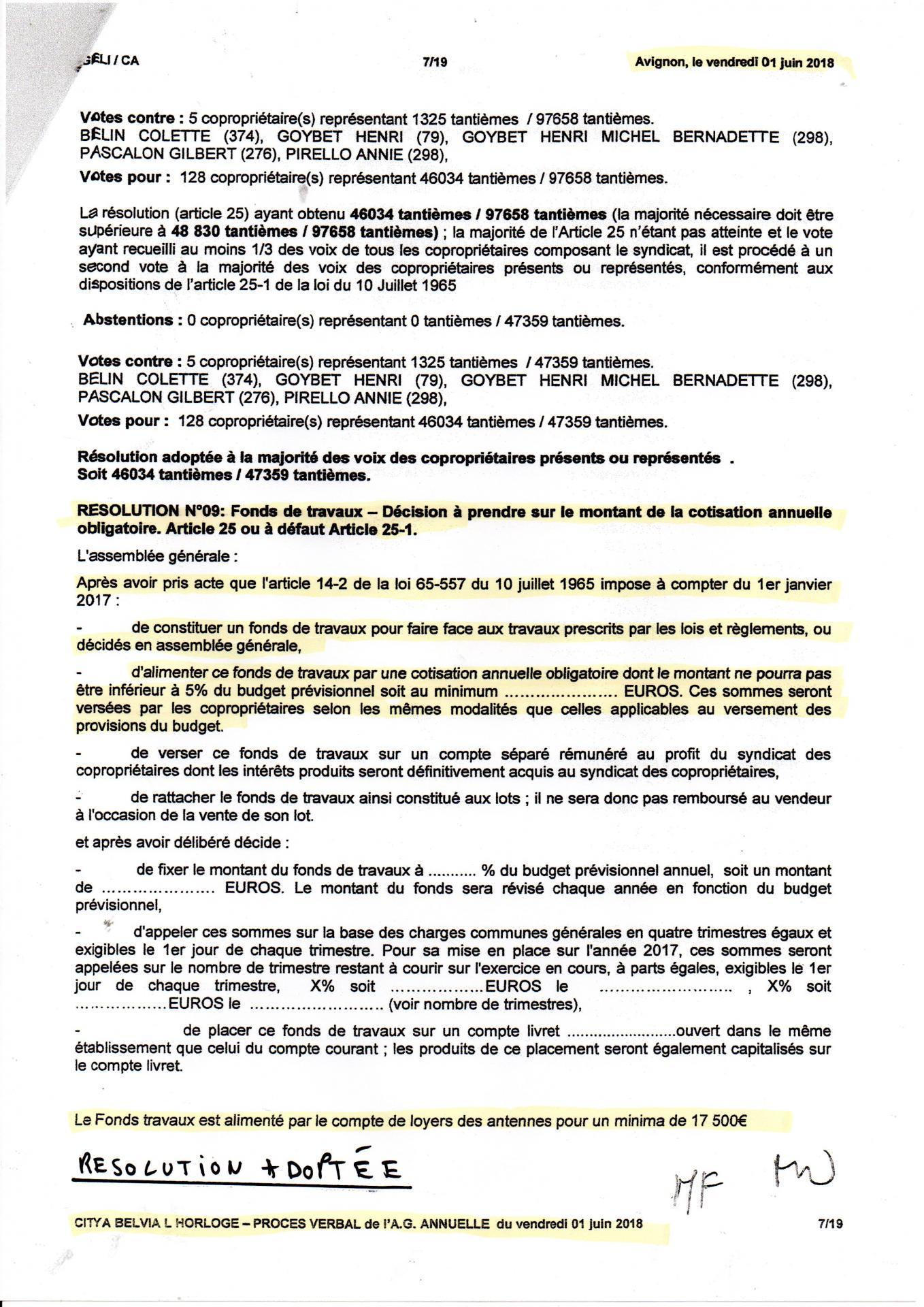 AG 06 2018 transfert loyers antennes 17000 €vers fonds travaux