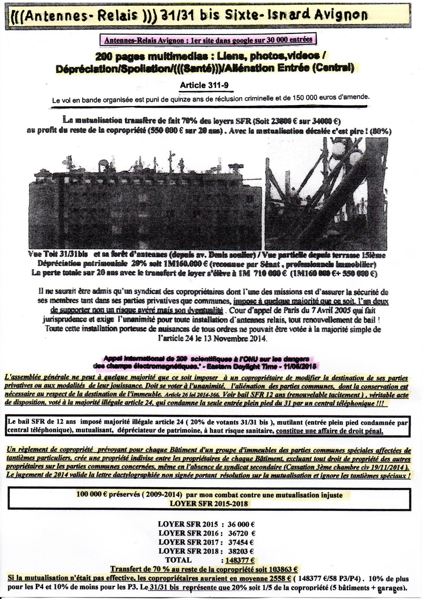 Avignon antennes relais : Résumé point de droit et transfert loyer 2015-2018