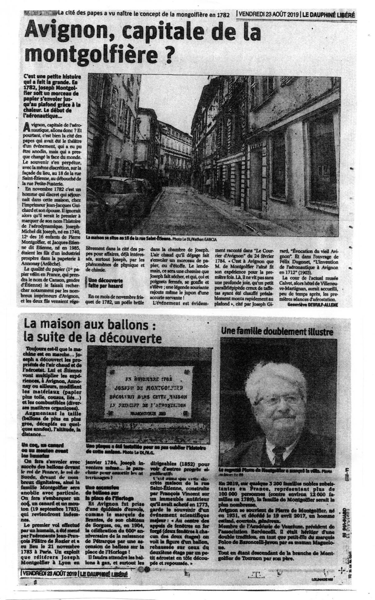 Avignon capitale de la Montgolfiere famille doublement illustre