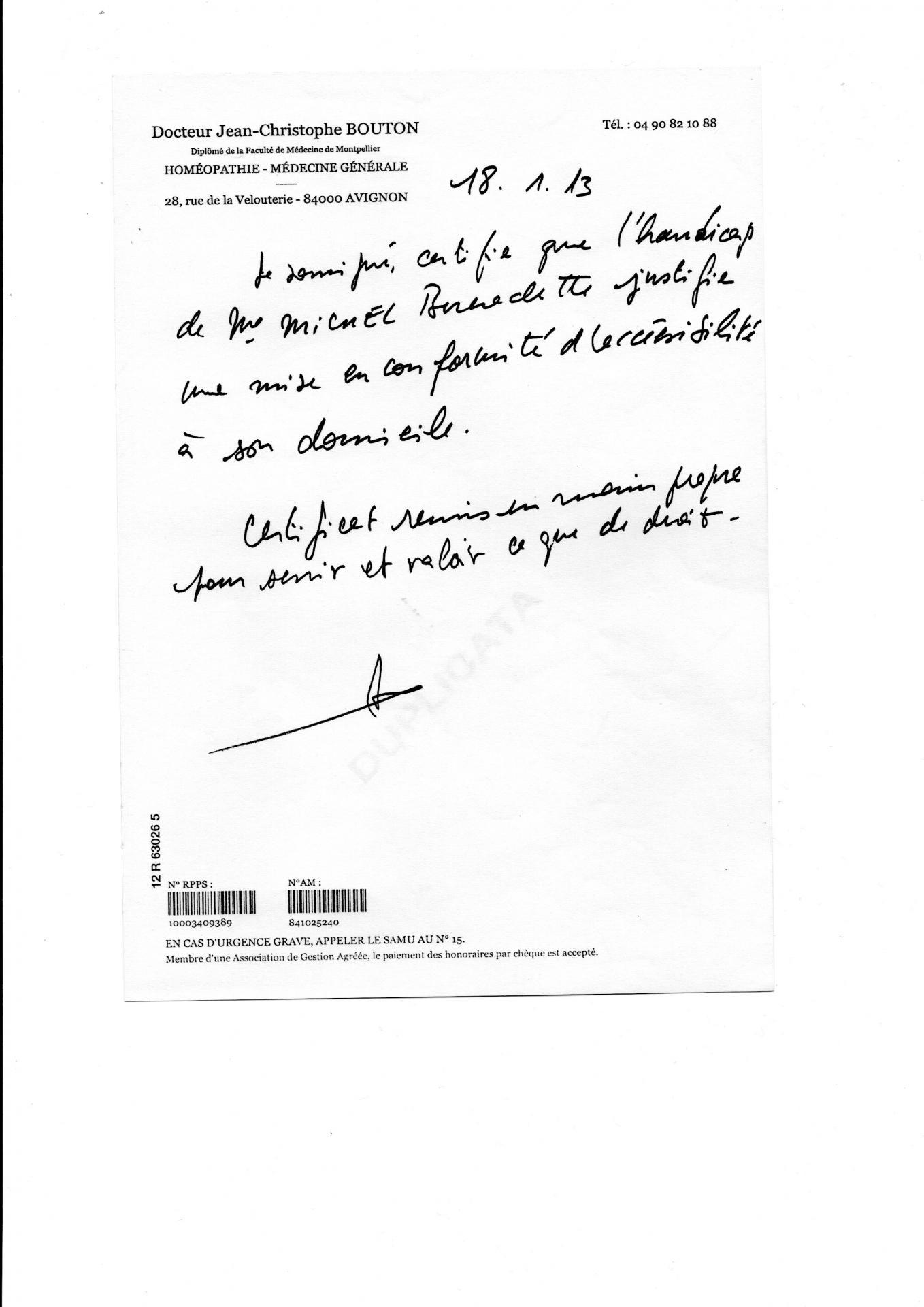 Certificat du docteur bouton mise en accessibilite