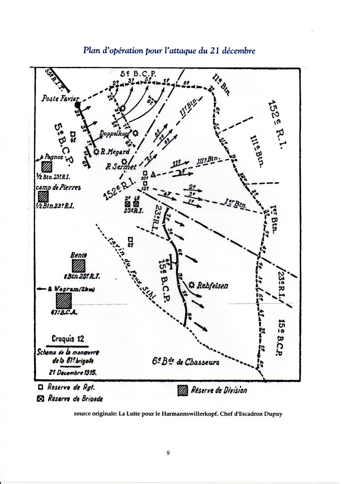 Plan d'opération pour l'attaque du 21 Décembre 1915 Hartmannswillerkopf