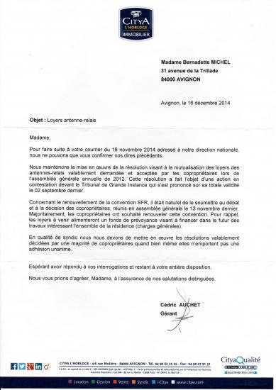 Courrier 16 12 2014 de Citya justifiant renouvellement bail SFR