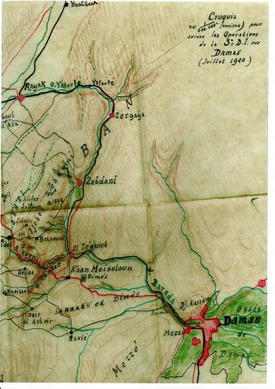 Croquis operations 3e division infanterie juillet 1920 sur damas