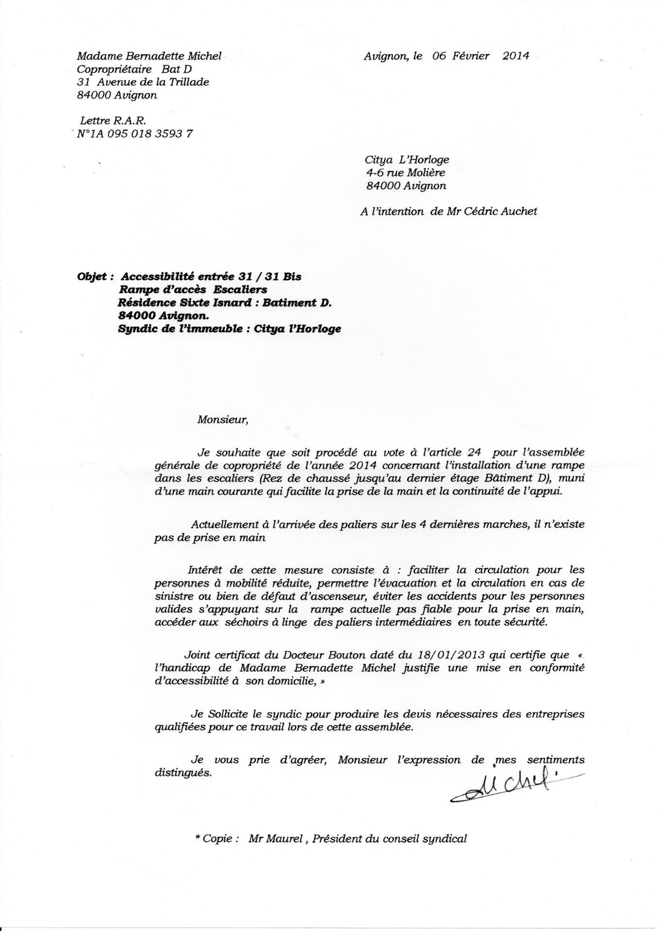 Demande accessibilité  rampe accès 06 02 2014