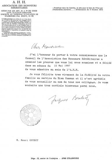 Dossier A.H.H. Ch Henri Goybet