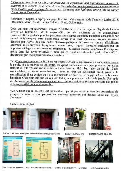 Installation SFR condamne entrée plein pied