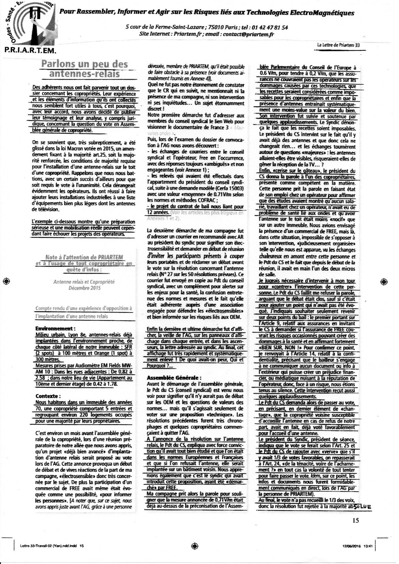 Experiences de coproprietaires lettre Priaterm 12 06 2016