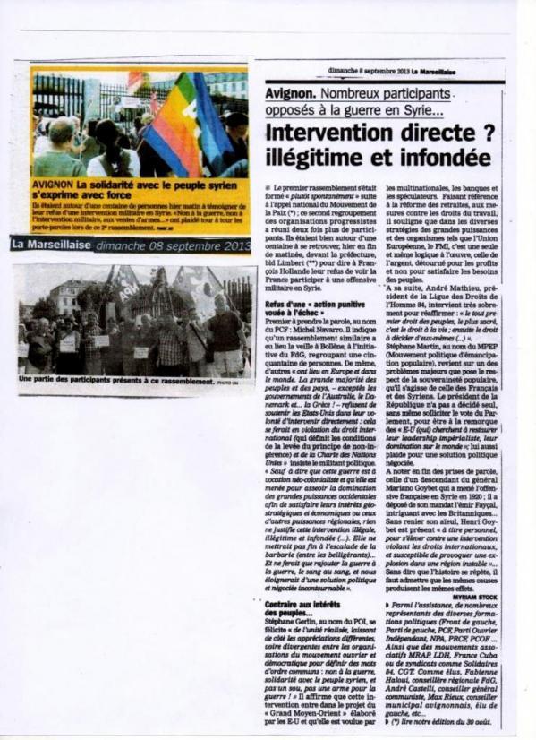 Intervention en Syrie :La Marseillaise