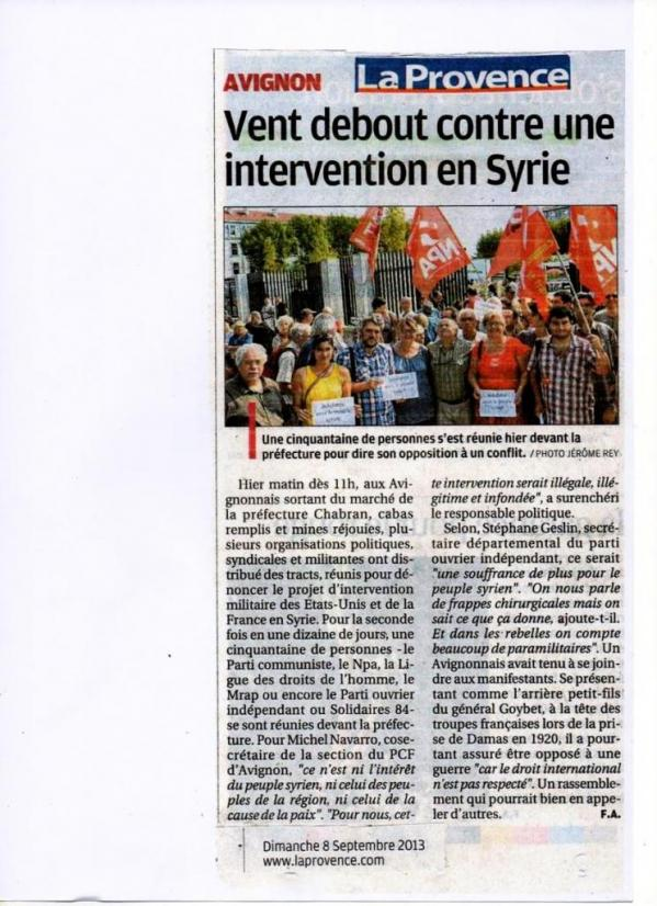 Intervention en Syrie : Provence