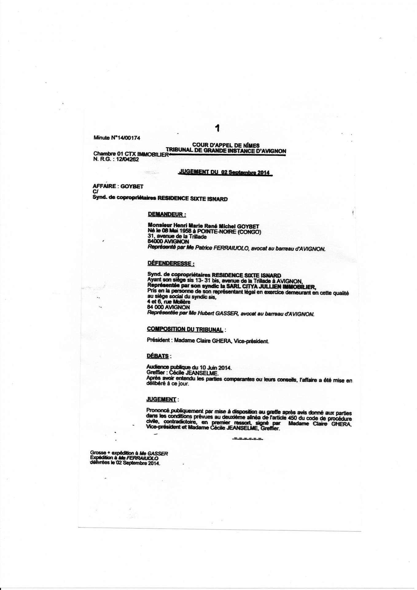 Jugement tribunal de grande instance d avignon du 2 09 2014  Page 1