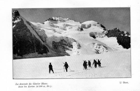 La descente du glacier blanc sous les ecrins 4100 m