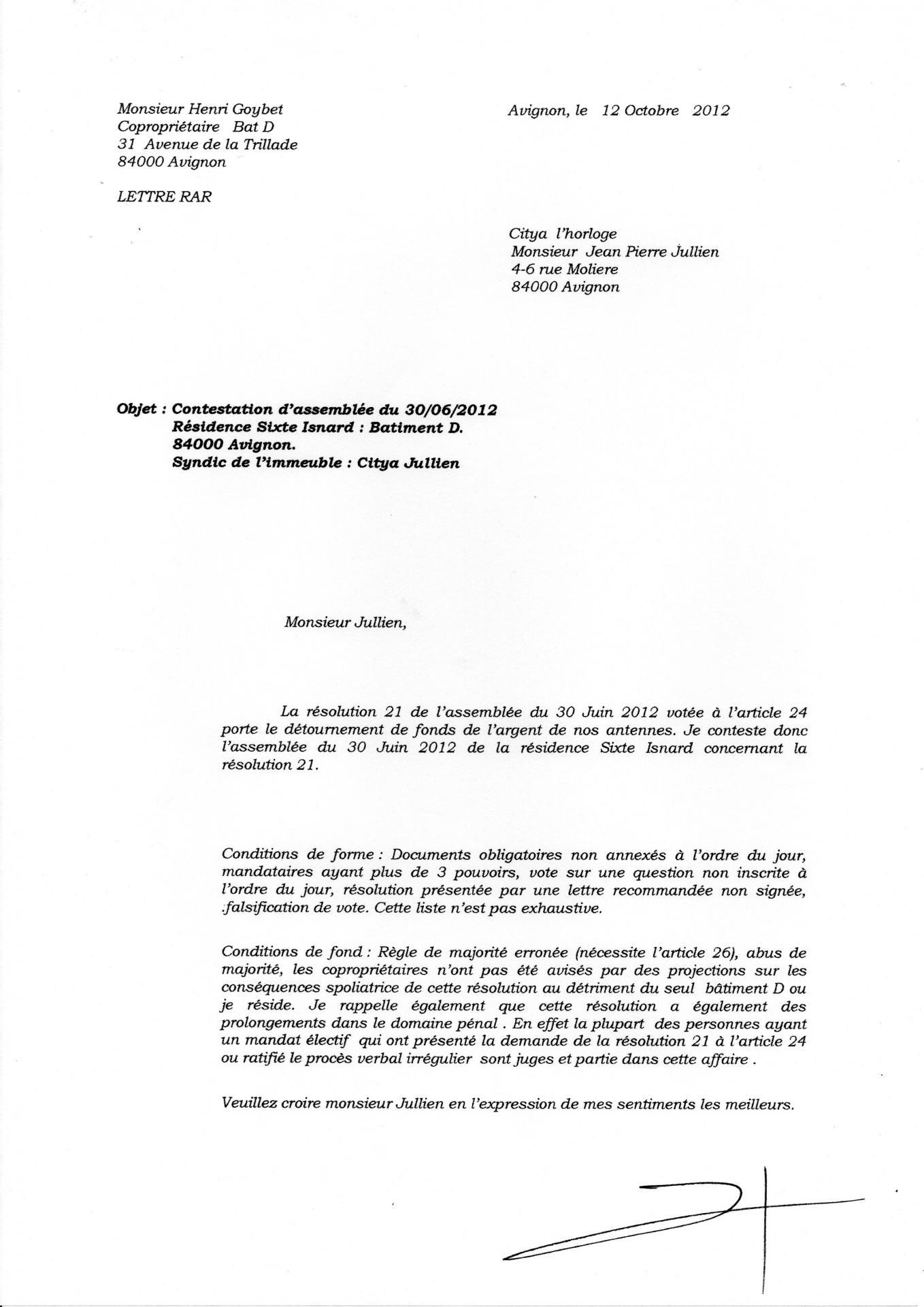 Lettre contestation AG 30 06 2012 résolution 21 mutualisation 2017