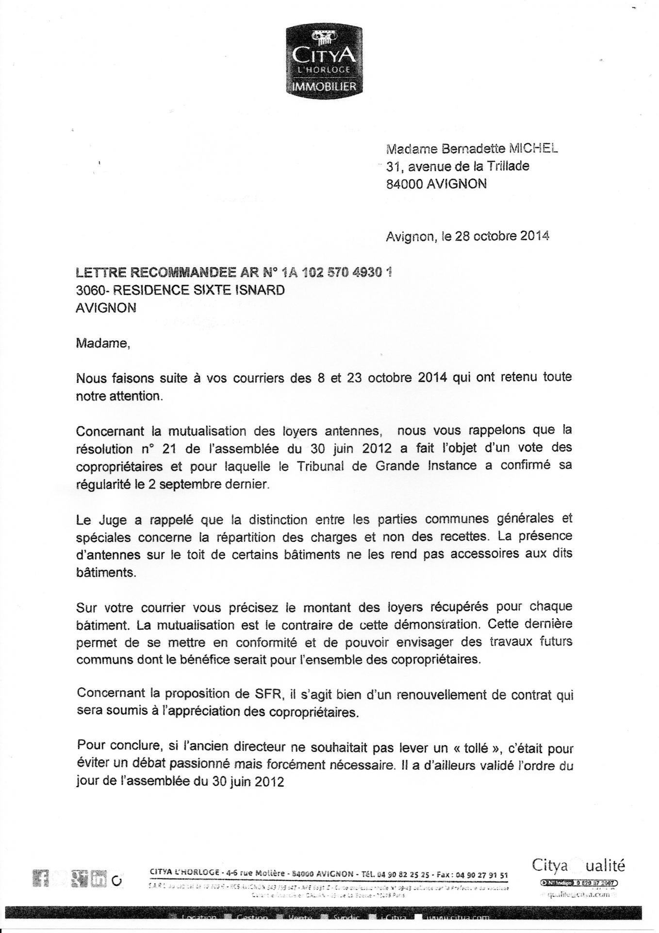 Lettre de cédric auchet directeur Citya 28 10 2014