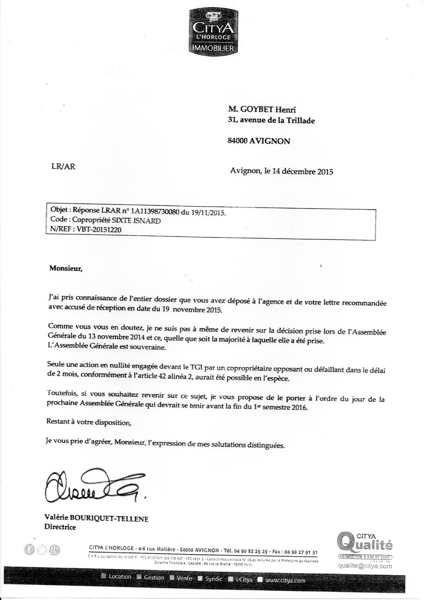 Lettre de madame Bouriquet directrice Citya