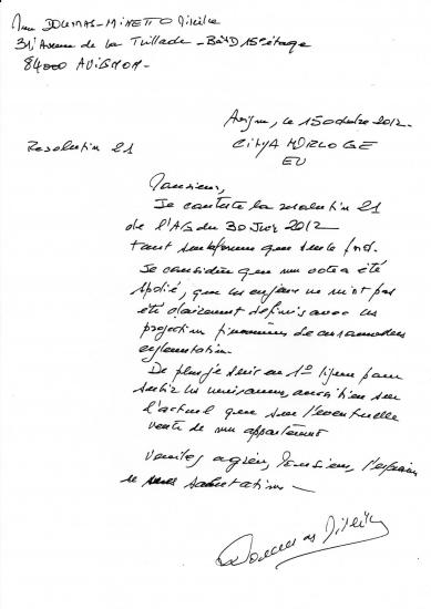 Lettre de madame doumas spoliation de son vote resolution 21 du 30 juin 2012