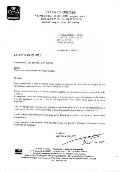 Lettre de mr jullien en 2012 qui laisse passer la résolution de la mutualisation et oblige au procès