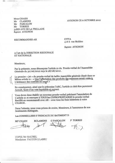 Lettre de protestation direction nationale de citya sur vote resolution 21 portant mutualisdation