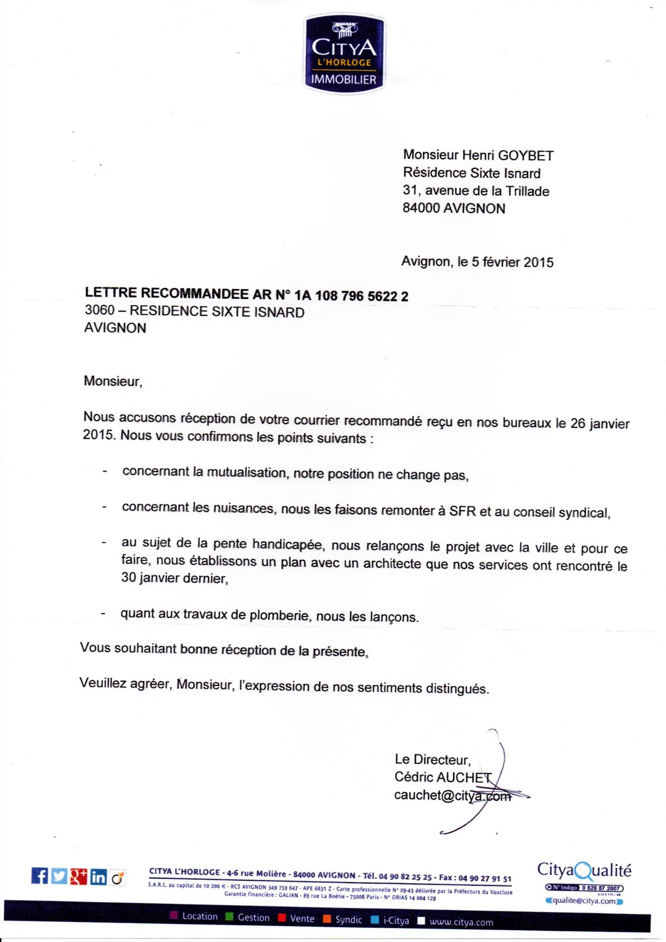 Lettre du syndic du 5 02 2015 point mort sauf mutualisation !