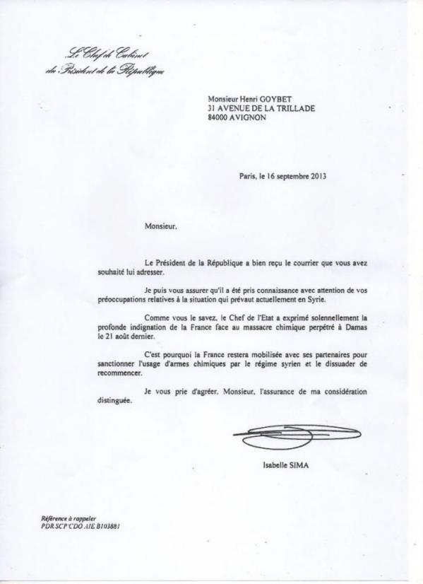 Lettre de la Présidence de la République
