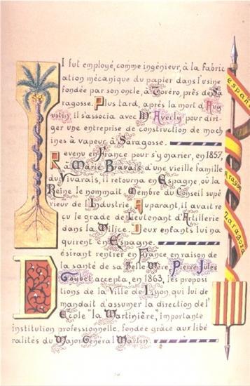 Jules Goybet en Espagne . Enluminure livre de famille de Mariano Goybet
