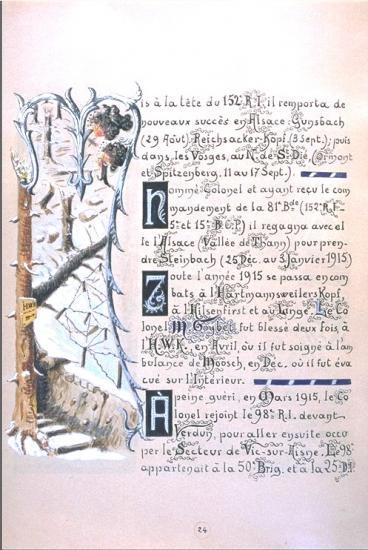 Livre de famille de Mariano  Goybet : Combats en Alsace et Vosges 1914-1915 à la tête de ses troupes alpines