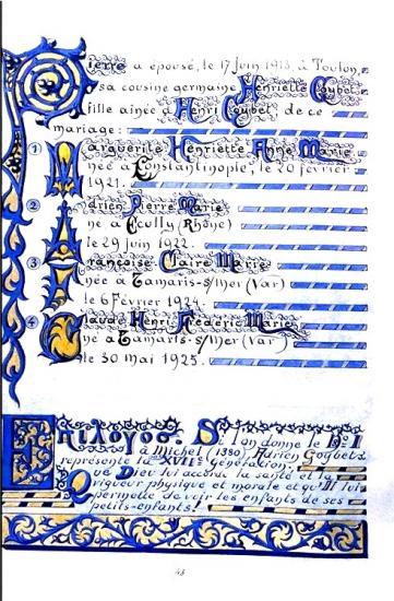 Chef de Bataillon Adrien Goybet XVII ième génération  père du Chevalier Goybet