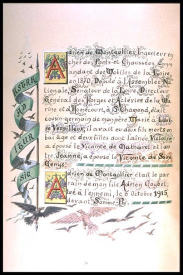 Livre de famille  de Mariano Goybet sur Adrien de Montgolfier  (1831-1913), Depute, Senateur, Administrateur du PLM, Président du comité des forges et acieries de la marine