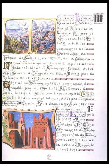 Alliance  Lespieau Theil tiré du livre à enluminures du général Mariano Goybet marié à la fille du général Théodore Lespieau