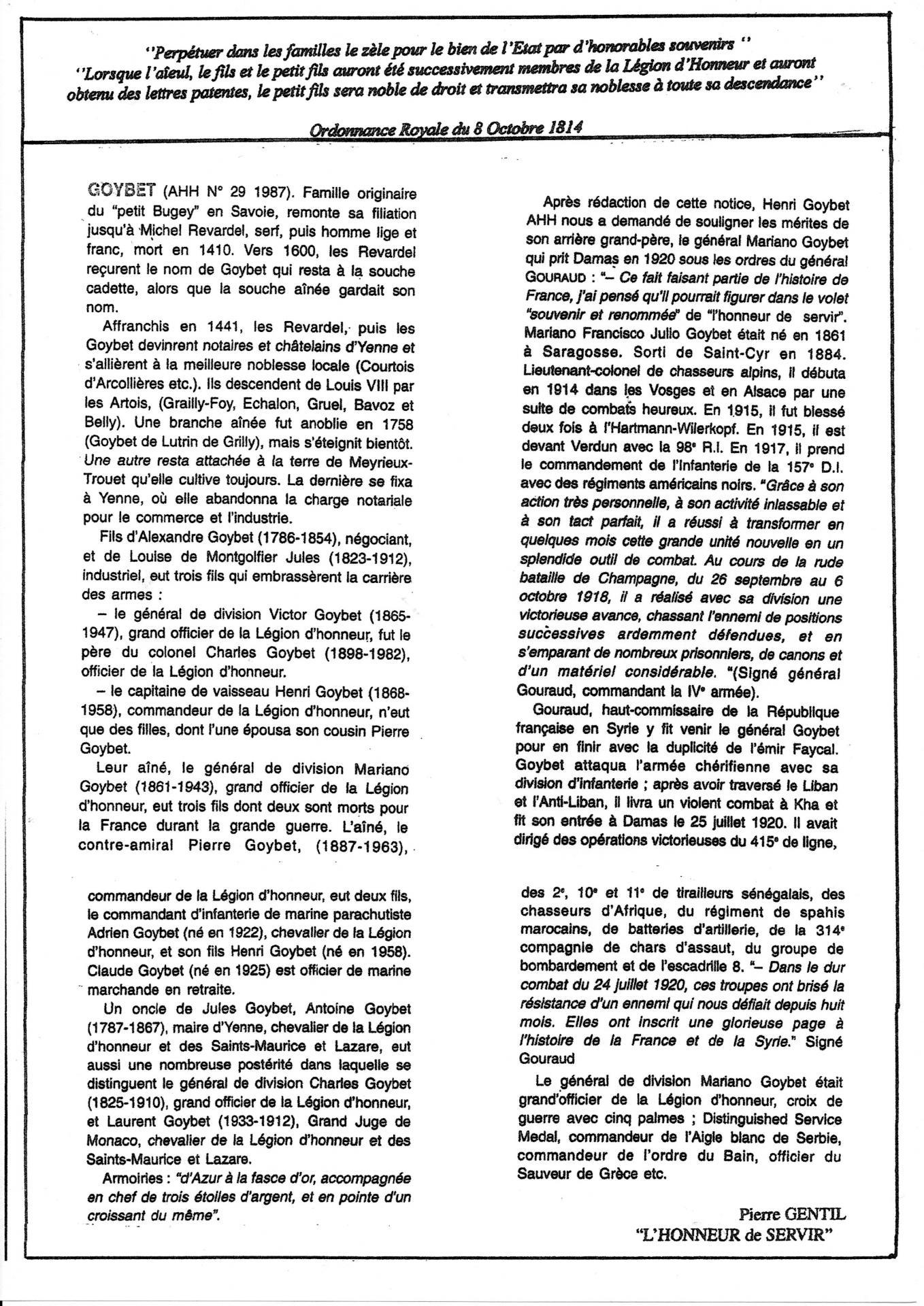 Notice AHH : Famille Goybet :Livre de pierre Gentil :L'honneur de servir  Auteuil Impression 1998