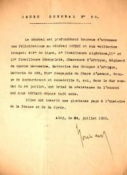 Ordre général n° 22 sur prise de Damas par le général Goybet