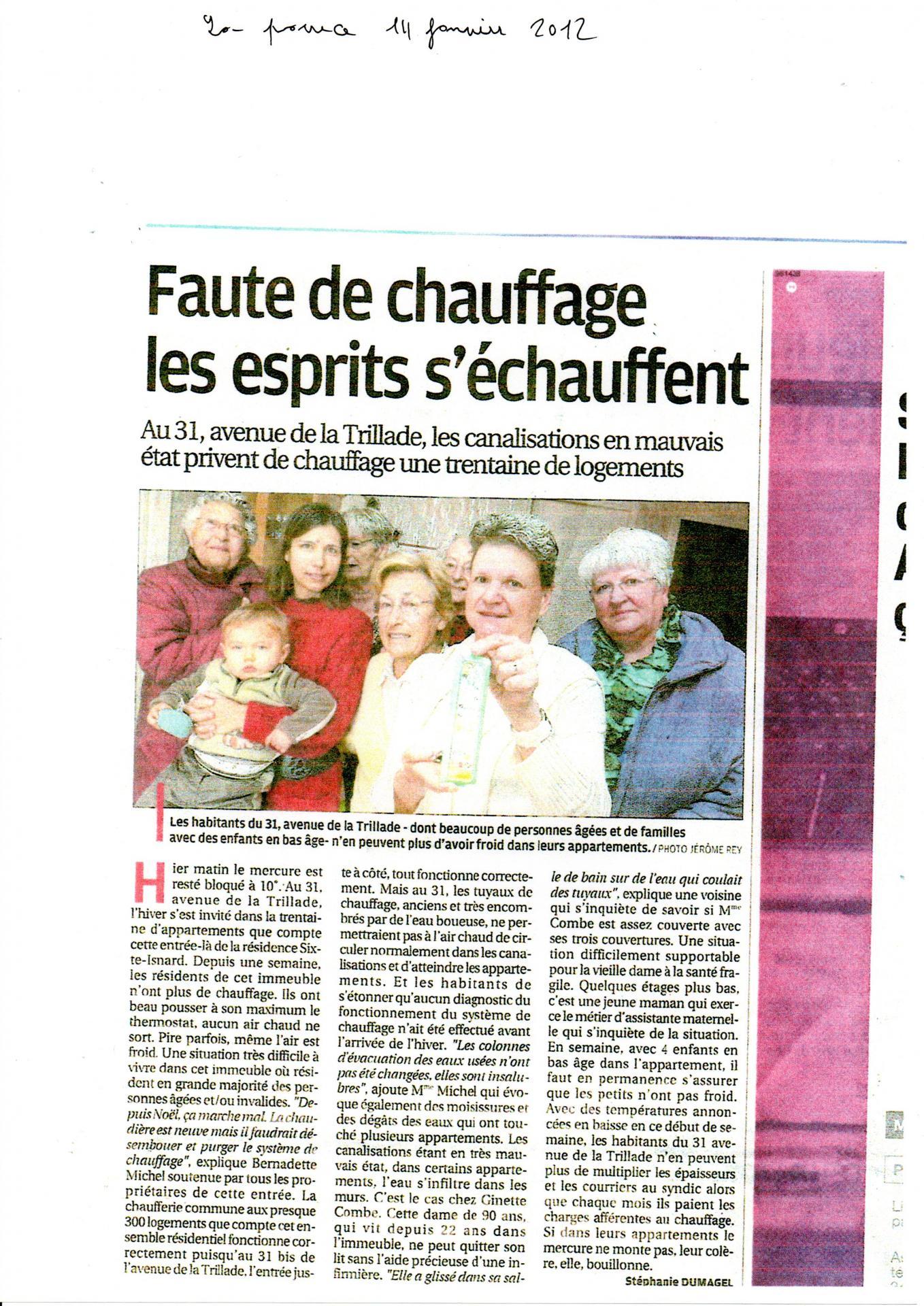 Problèmes de réactivité syndic  concernant l'entretien du chauffage Article la Provence 01 2012