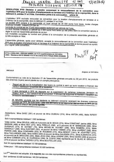 Pv ag 13 11 2014 sur bail sfr  de 12 ans 31/ 31 bis bat D loyers mutualises  majorité illégale  article 24 de tte la copropriété laissant le 31/31 bis le droit de se taire avec - de 20% des droits de vote