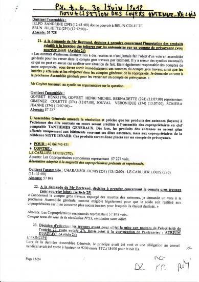 Pv ag 30 juin 2012 resolution 21 portant mutualisation loyers d antennes relais un seul opposant