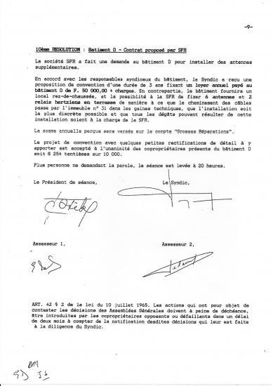 Pv ag novembre 1995 bail sfr 31 31 bis avec loyers non mutualises