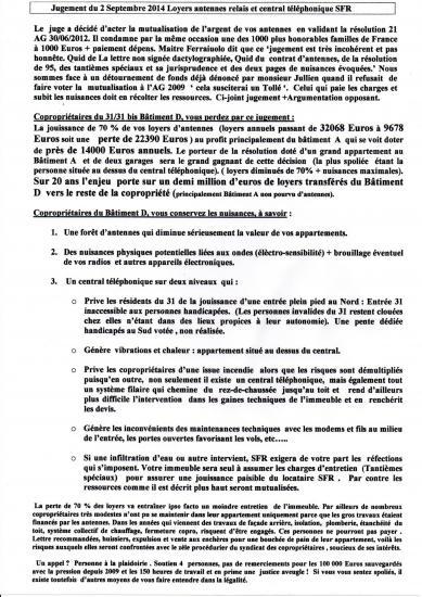 Reflexions apres le jugement du 2 09 2014 actant mutualisation