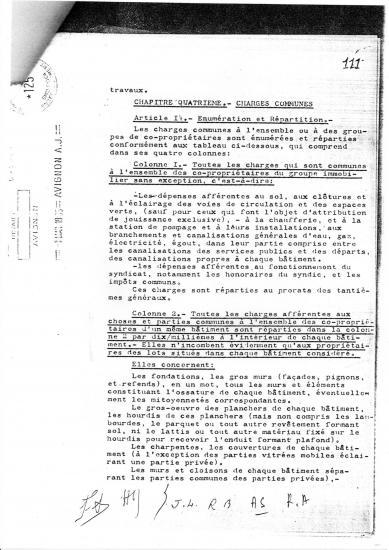 Reglement copropriete de sixte isnard du 11 03 1965 tantiemes speciaux par batiments