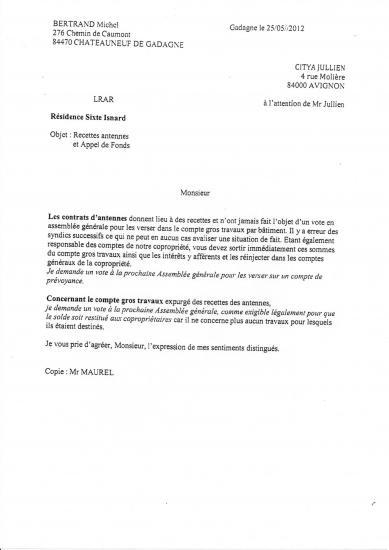 Resolution portant mutualisation des loyers d antennes portee a l AG en juin 2012 . Transfert d un demi million d euros sur 20 ans du bat D (31 31 bis) vers le reste de la  copropriété . Lettre non signée
