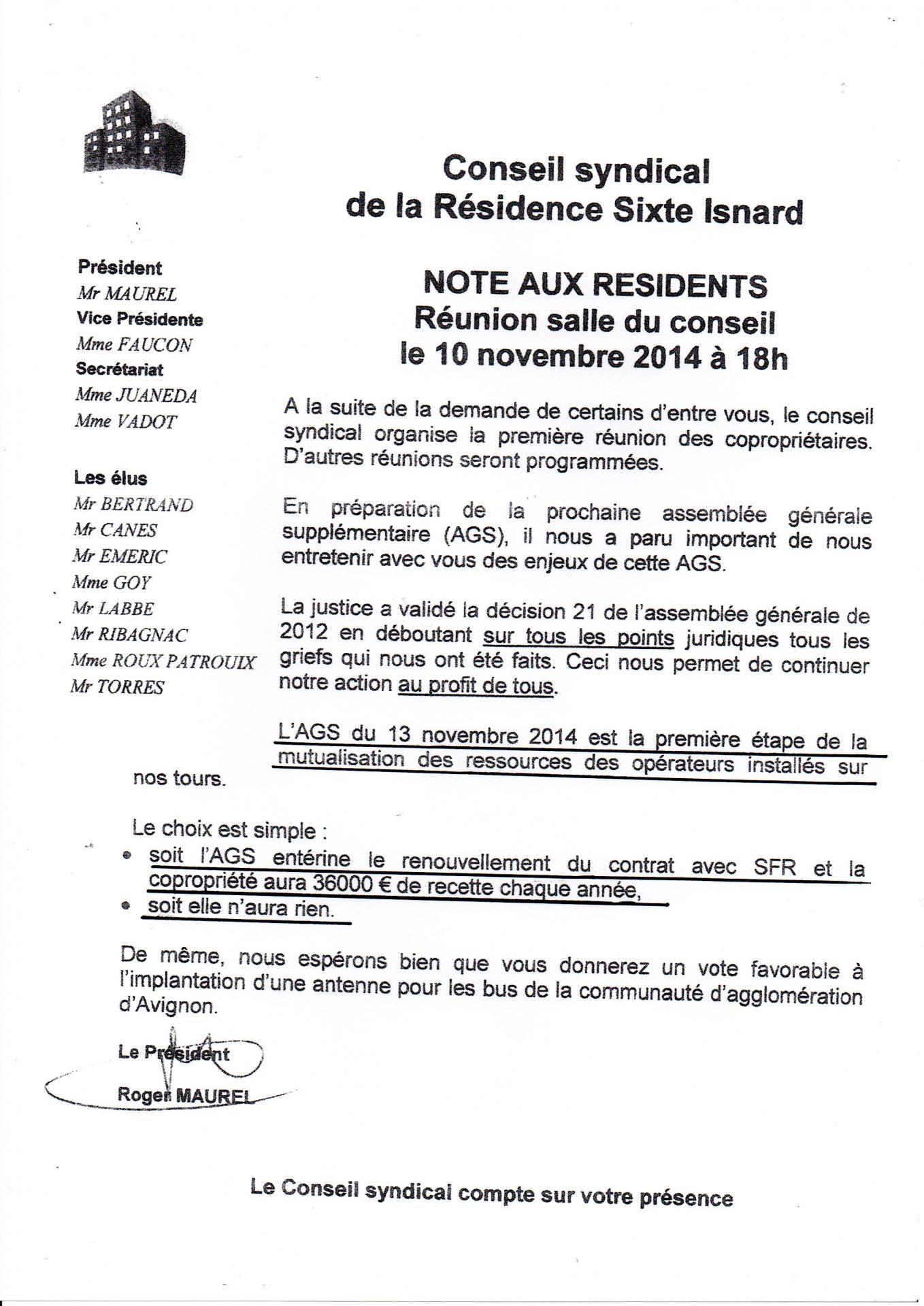 Réunion destinée a faire voter oui au bail SFR 10 11 2014