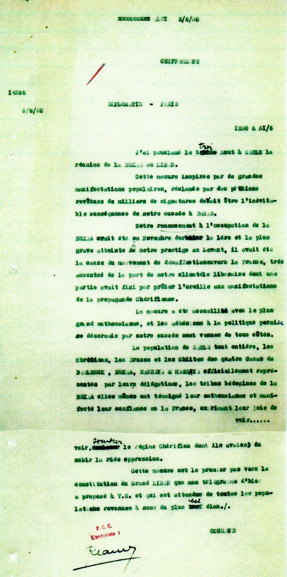 Telegramme gouraud du 05 08 1920